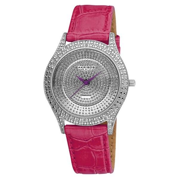 Akribos XXIV Women's Diamond Fuchsia Brilliance Swiss Quartz Purple Strap Watch