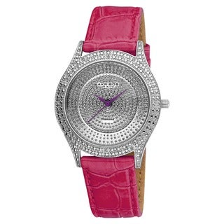 Akribos XXIV Women's Diamond Fuchsia Brilliance Swiss Quartz Purple Strap Watch