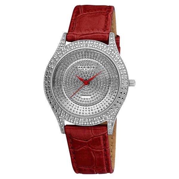 Akribos XXIV Women's Diamond Red Brilliance Swiss Quartz Strap Watch with GIFT BOX