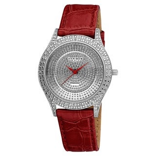 Akribos XXIV Women's Diamond Red Brilliance Swiss Quartz Strap Watch with FREE GIFT