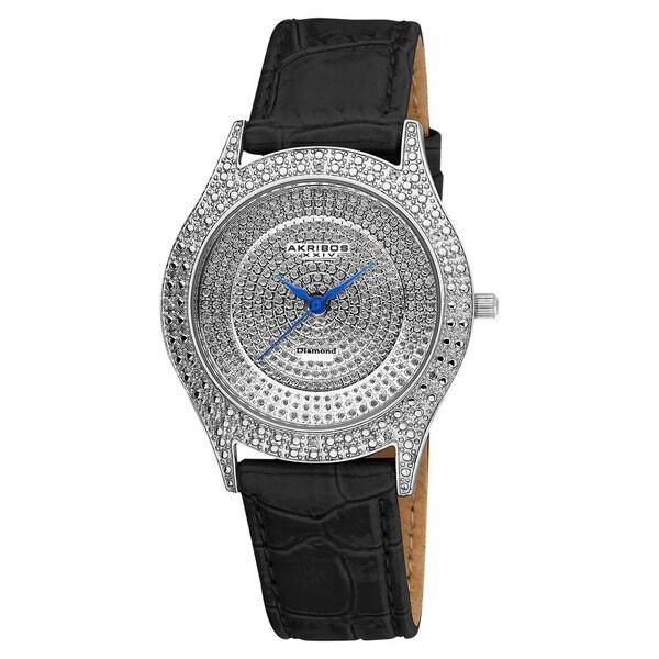 Akribos XXIV Women's Diamond Silver Brilliance Swiss Quartz Strap Watch with FREE Bangle