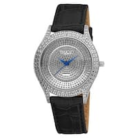 Akribos XXIV Women's Diamond Silver Brilliance Swiss Quartz Strap Watch with FREE Bangle