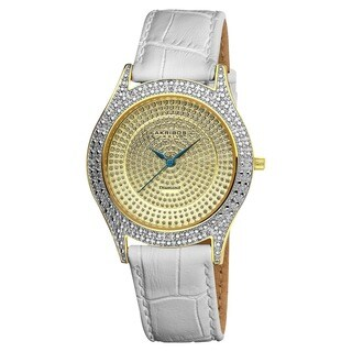 Akribos XXIV Women's Diamond Gold Brilliance Swiss Quartz Strap Watch with FREE Bangle