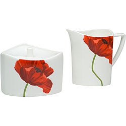 Red Vanilla Summer Sun Sugar and Creamer Set