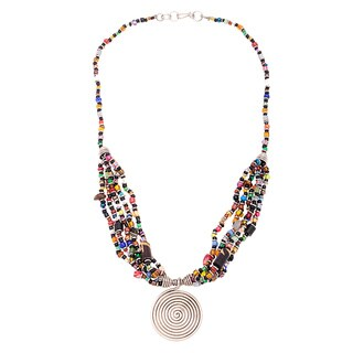 Handmade Silverplated Copper Beaded Elegance Necklace (Kenya)