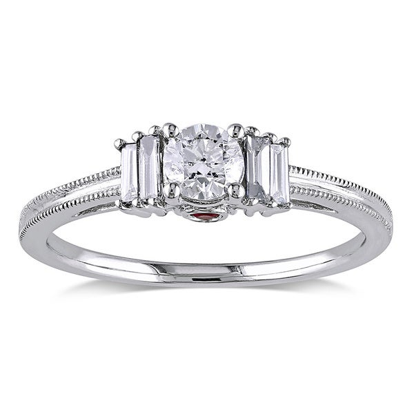 L'Amour Enrose by Miadora 14k Gold 1/2ct TDW Round-cut Diamond and Pink Sapphire Ring (H-I, I2-I3)