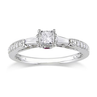 Miadora 14k Gold 1/2ct TDW Diamond and Pink Sapphire Engagement Ring (H-I, I2-I3)