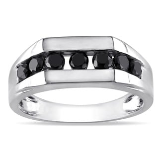 Miadora 10k White Gold 1ct TDW Black Diamond Men's Ring