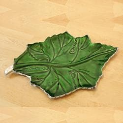Aluminum Leaf Platter with Green Enamel Coating (India)