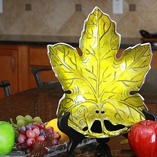 Aluminum Maple Leaf Platter with Green Enamel Coating (India)