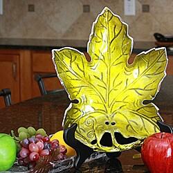 Handmade Aluminum Maple Leaf Platter with Green Enamel Coating (India)