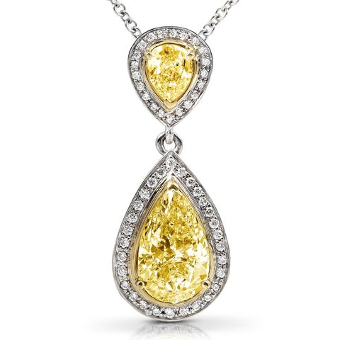 Annello by Kobelli 18k Gold 1-7/8ct TDW Certified Yellow Diamond Necklace