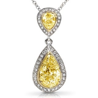 Annello by Kobelli 18k Gold 1-7/8ct TDW Certified Yellow Diamond Necklace (H-I, SI1-SI2)