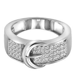Sterling Silver 1/4ct TDW Diamond Buckle Cocktail Ring (H-I, I1-I2)