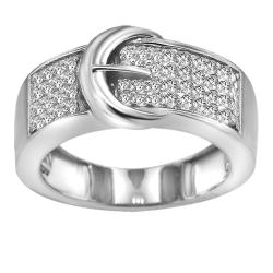 Sterling Silver 1/4ct TDW Diamond Buckle Cocktail Ring