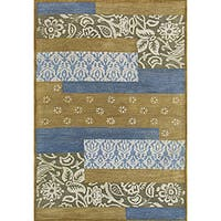 Hand-tufted Metro Mixed Blue Wool Rug (5' x 8')