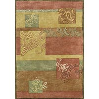 Hand-tufted Metro Red Multi Wool Rug (8' x 11') - 8' x 11'