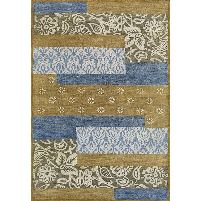 Hand-tufted Metro Mixed Blue Wool Rug (8' x 11') - 8' x 11'