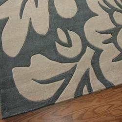 nuLOOM Handmade Pino Floral Slate Rug (3'6 x 5'6)