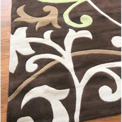 nuLOOM Handmade Pino Scroll Vines Brown Rug (3'6 x 5'6)