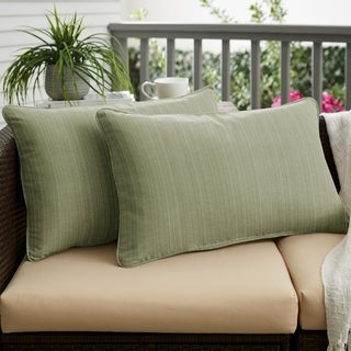 Textured Sage Corded Indoor/ Outdoor Pillows (Set of 2)
