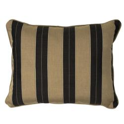 Cocoa/Black Stripe Corded Indoor/ Outdoor Pillows with Sunbrella Fabric (Set of 2)