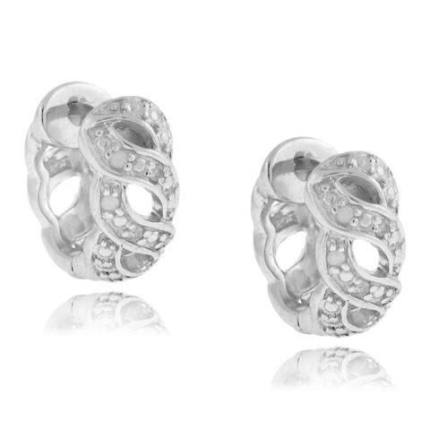 Finesque Sterling Silver 1/10ct TDW Diamond Link Hoop Earrings