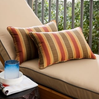 Autumn Stripe Corded Outdoor Pillows with Sunbrella Fabric (Set of 2)