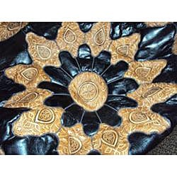 Handmade Round Mosaic Black Leather Ottoman (Made in Morocco)