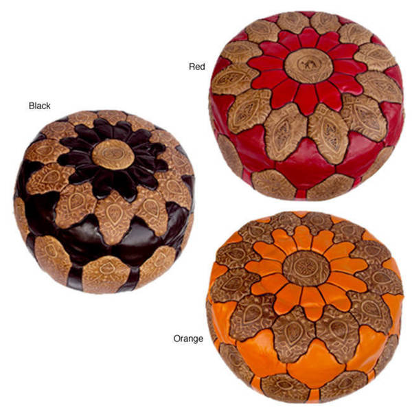 Handmade Round Mosaic Black Leather Ottoman Pouf (Made in Morocco)