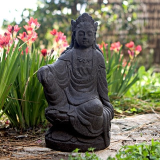 Handcrafted Quan Yin Stone Statue, Handmade in Indonesia
