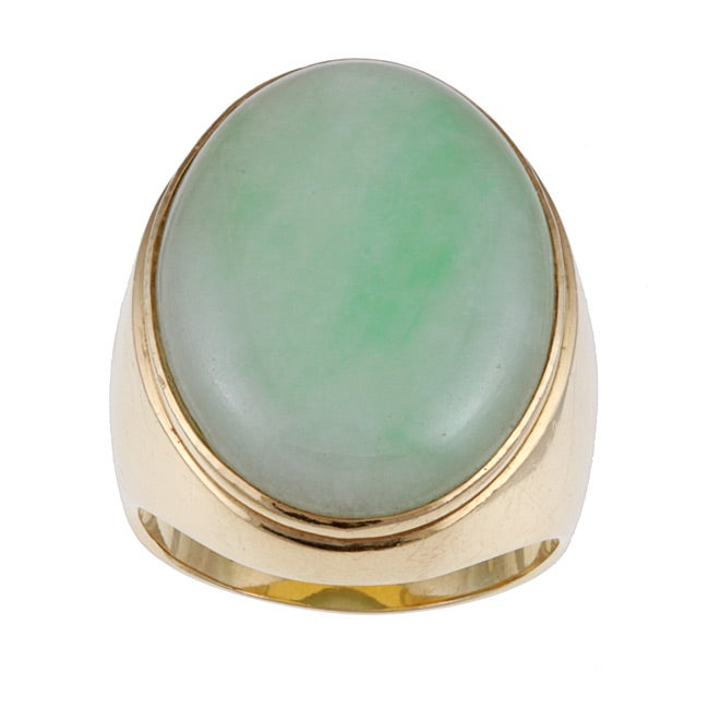 14k Yellow Gold and Jade Giant Cocktail Ring