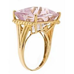 D'Yach 10k Yellow Gold Pink Amethyst Ring - Thumbnail 1