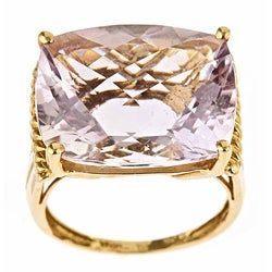 D'Yach 10k Yellow Gold Pink Amethyst Ring