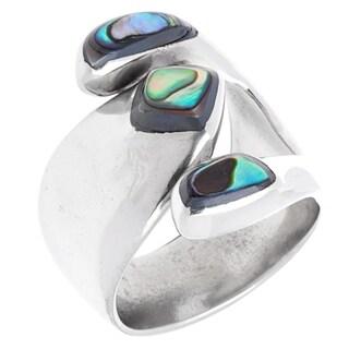 Handmade Abalone Attitude Silver Ring (Mexico) - Green