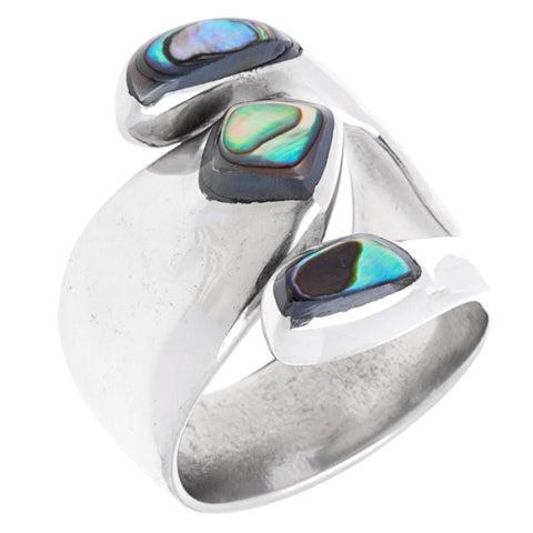 Handmade Abalone Attitude Silver Ring (Mexico)