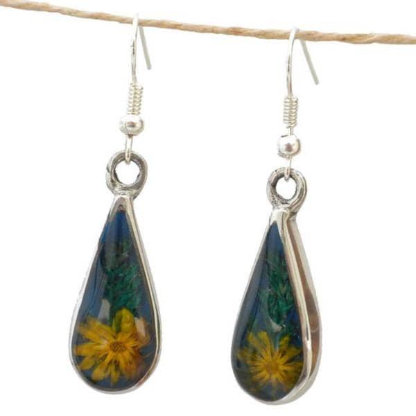Handmade Yellow Flower Drop Earrings (Mexico)
