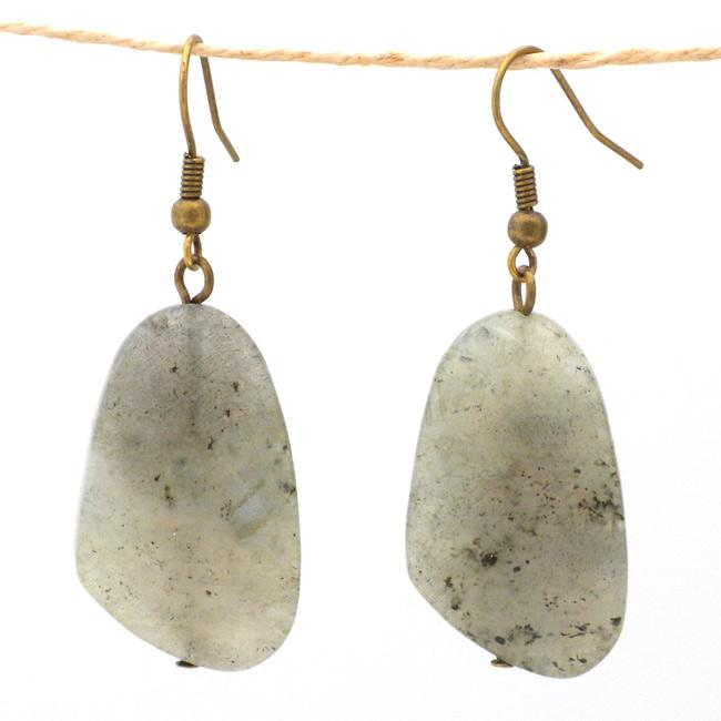 Handmade Nickel-free Brass Labradorite Earrings (China)