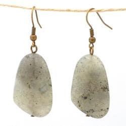 Handmade Nickel-free Brass Labradorite Earrings (China) - Thumbnail 1