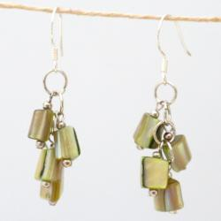 Silver Green Mother of Pearl Cluster Earrings (China)