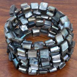 Grey Mother of Pearl Wrap Bracelet (China)
