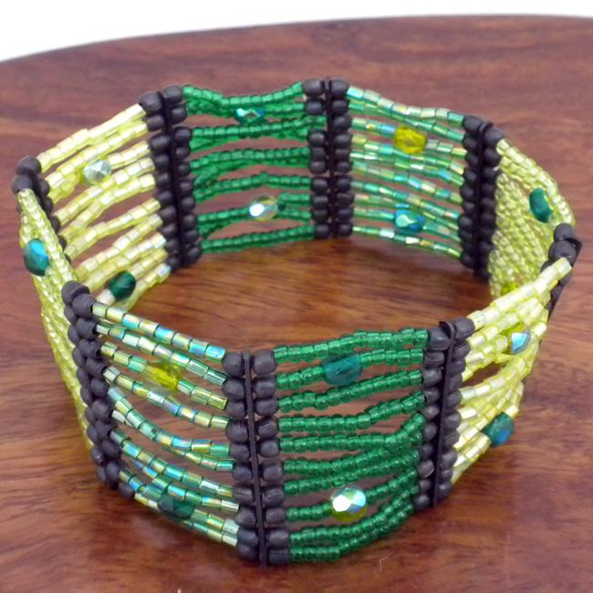 Green Flashy Beaded Stretch Bracelet (India)