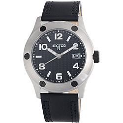 Hector H France Men's 'Fashion' Black-Dial Quartz Watch with Leather Strap