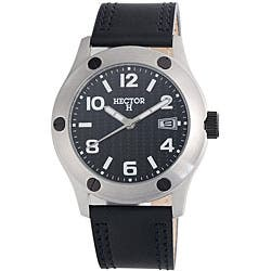 Hector H France Men's PVD Stainless Steel Leather Strap ...
