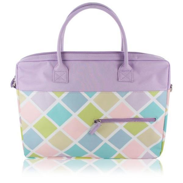 Jacki Lavender Diamond Pattern 15-inch Laptop Tote