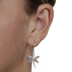 Journee Collection Sterling Silver Mother of Pearl Dragonfly Earrings