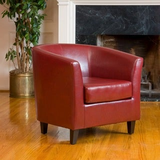Superb Oxblood Red Bonded Leather Tub Club Chair By Christopher Knight Home
