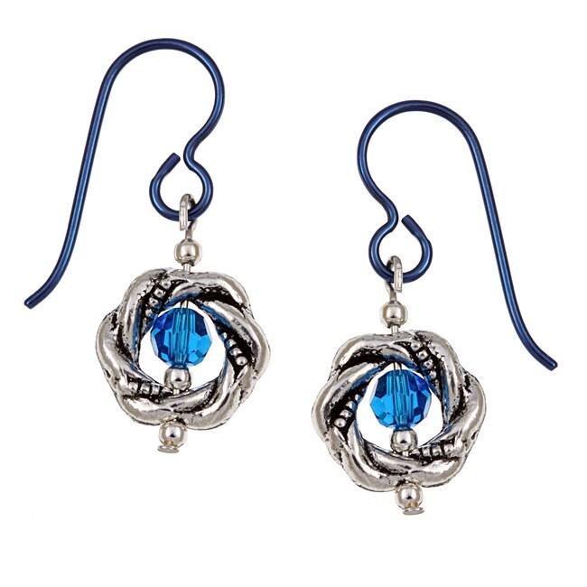 MSDjCASANOVA Pewter Capri-colored Crystal Earrings