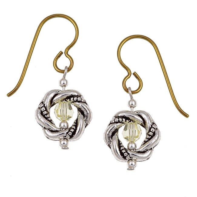 MSDjCASANOVA Pewter Yellow-colored Crystal Earrings