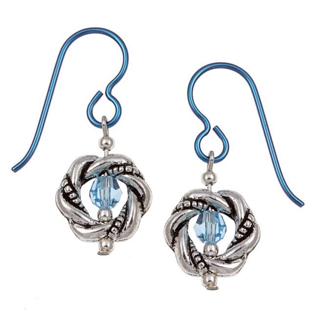 MSDjCASANOVA Pewter Aqua-colored Crystal Earrings